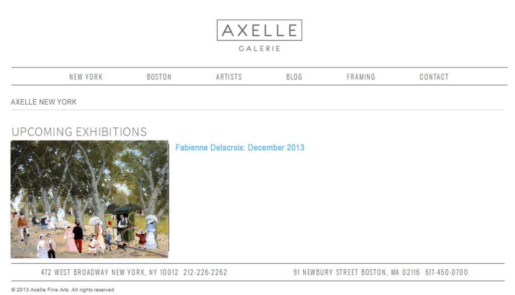 AXELLE NEW YORK UPCOMMING EXHIBITIONS : Fabienne Delacroix - Décembre 2013