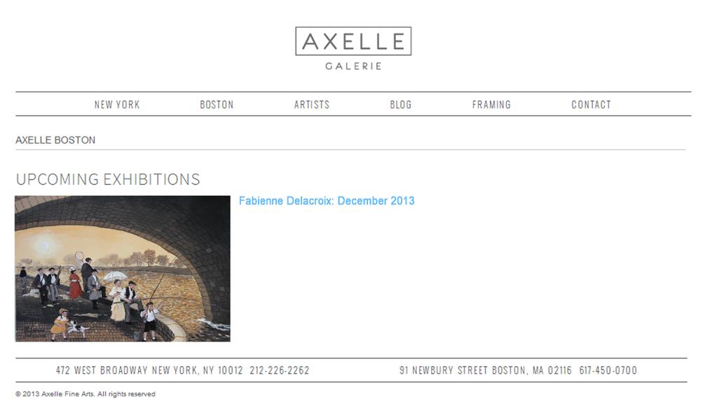 AXELLE BOSTON UPCOMMING EXHIBITIONS : Fabienne Delacroix - Décembre 2013