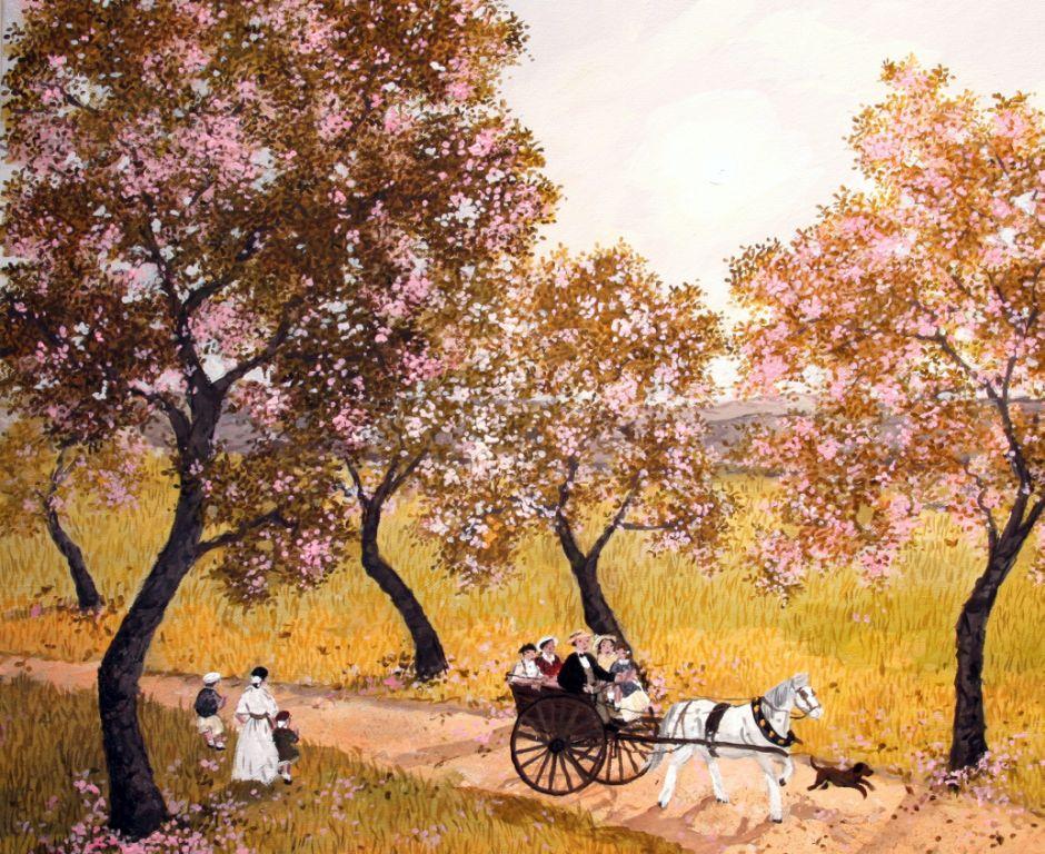 Le chemin des cerisiers - Fabienne Delacroix - Artiste peintre