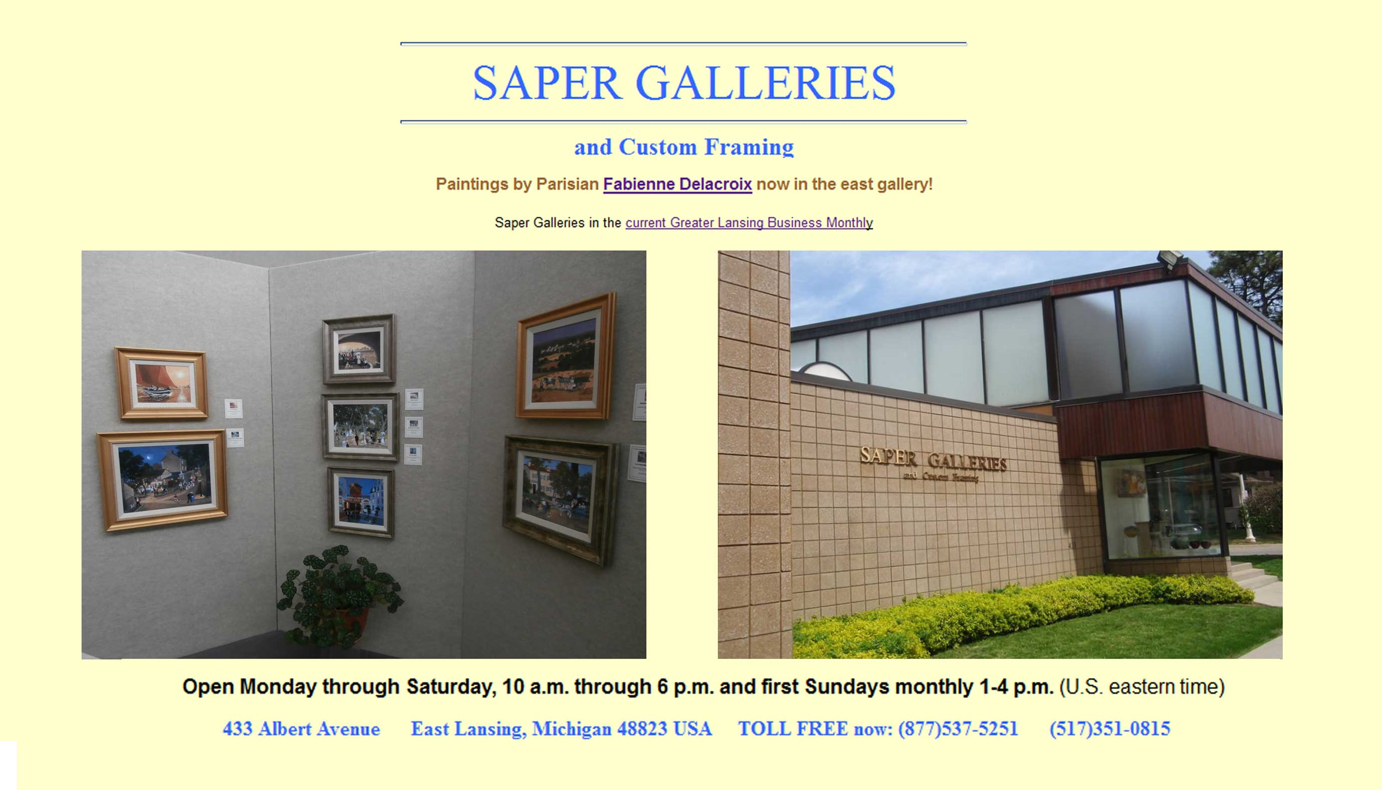 SAPER GALLERIES - Paintings by Parisian Fabienne Delacroix now in the east gallery